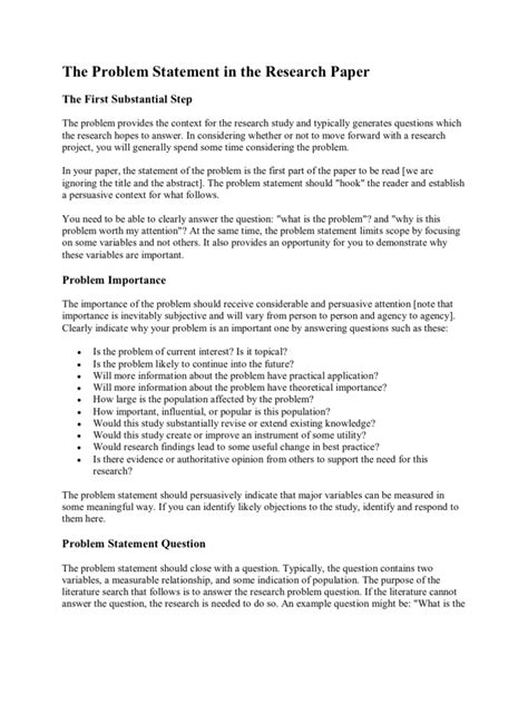 problem statement research paper the problem statement in the research paper