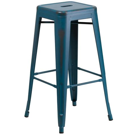 Distressed Blue Bar Stools flash furniture 30 in distressed blue bar stool