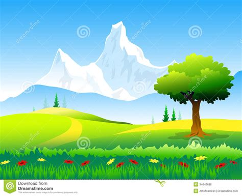 Landscape Illustration Of Himalayas Peaks Landscape Royalty Free Stock