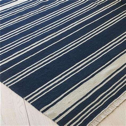 Navy Blue Striped Rug by Coastal Stripe Dhurrie Rug