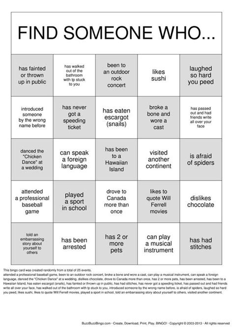 getting to know you bingo cards and getting to know on