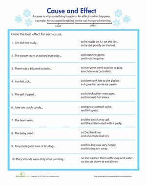 Cause And Effect Worksheets For Middle School by Identifying Cause And Effect Worksheet Education