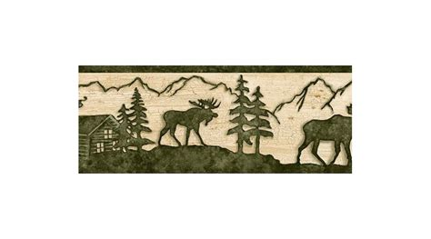 Cabin Wallpaper Border by Beige And Green Lodge Moose Wallpaper Border