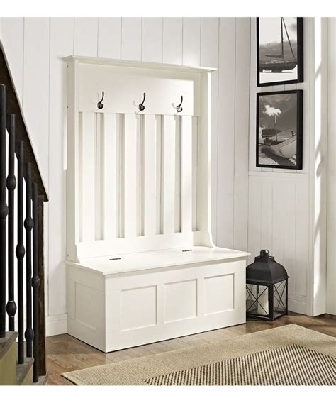white ogden entryway hall tree storage bench