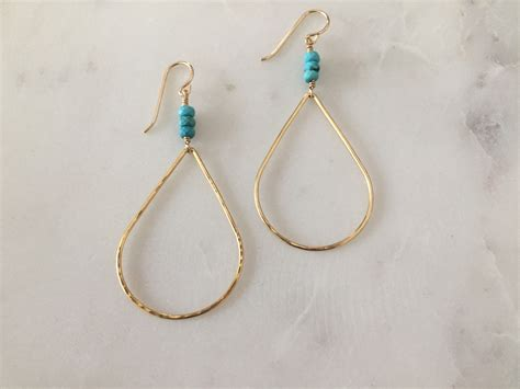 Handcrafted Gold Earrings - bridget gold turquoise earrings reija jewelry