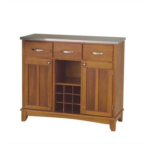 Furniture Cottage Oak Base And Stainless Steel Top Buffet Stainless Steel Buffet