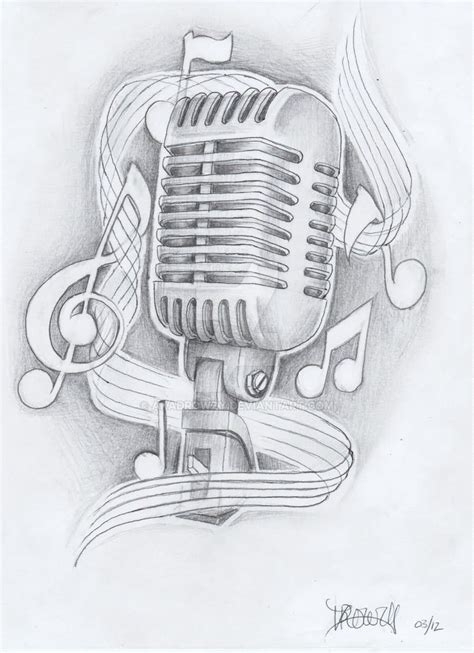 microphone tattoo design notes and microphone design by akadrowzy