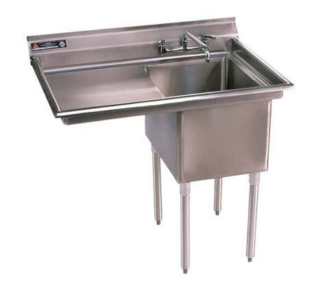 one compartment utility sink with left drainboard
