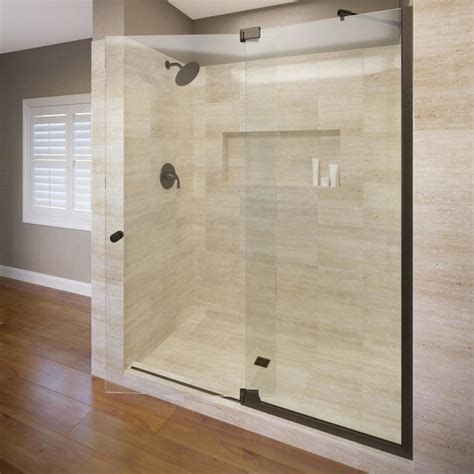 Basco Shower Doors Reviews Shop Basco Cantour 32 In To 36 In Frameless Pivot Shower Door At Lowes