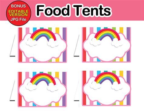 Boys Wall Art Stickers rainbow food labels food tents instant download