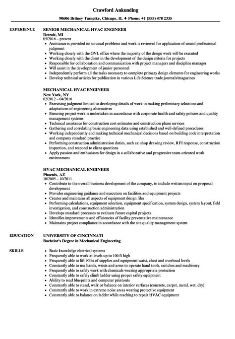 Mechanical Engineering Resume by Hvac Mechanical Engineer Resume Sles Velvet