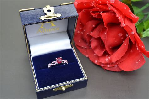 Ruby 8 45ct ruby infinity engagement ring 14k white gold 1