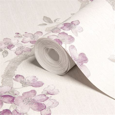 mercutio wallpaper plum grey graham brown mercutio cream grey plum blossom