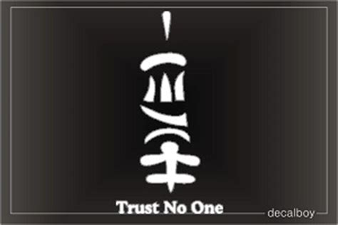 Kaos Trust No One Japanese symbols decals stickers decalboy