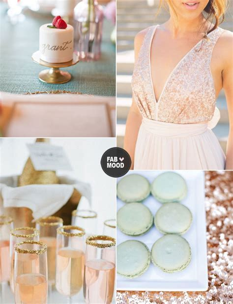 mint gold pink wedding color palte