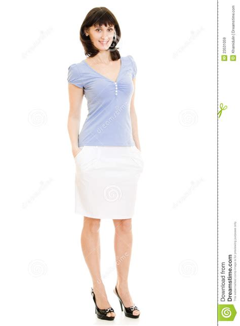 a in a blue shirt and white skirt royalty free stock