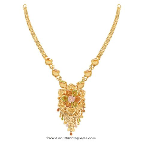 Gold Jewellery by 22k Gold Floral Necklace Design From Thangamayil South