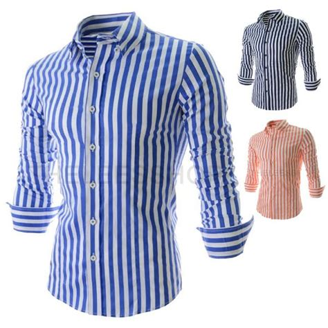 Atasan Big Size Stripe Murah Import Cotton Cina Korea Style blue and white striped mens shirt artee shirt