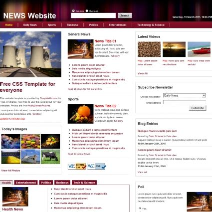 News Free Website Templates In Css Html Js Format For Free Download 521 56kb News Website Templates
