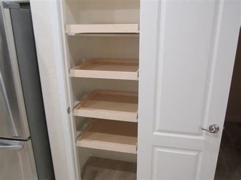 Installing Pantry Shelves by Installing Pull Out Shelves Inside A Pantry Closet
