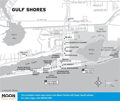 florida gulf coast map travel map of gulf shores alabama