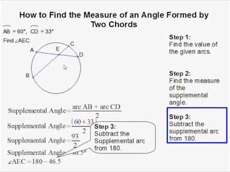how to see the how to find an angle formed by two chords youtube