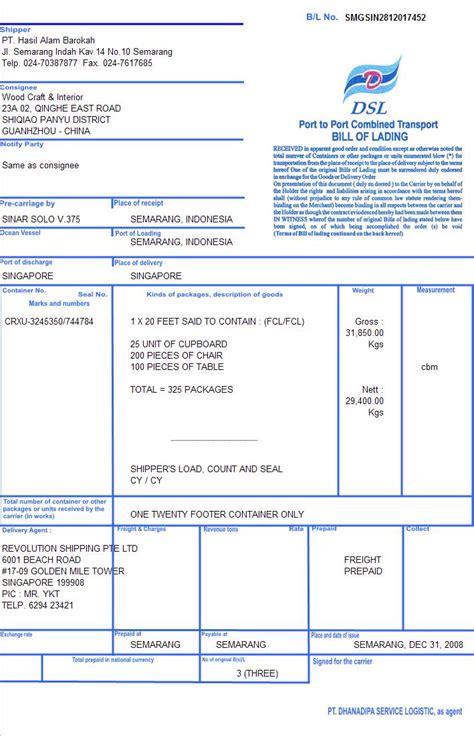Packingan Ekspedisi bill of lading b l pt danatrans service logistics