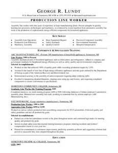 Assembly Worker Sle Resume by Assembly Line Worker Resume Getessay Biz
