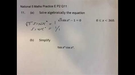 national 5 maths practice trigonometry national 5 maths practice e p2 q11 a youtube