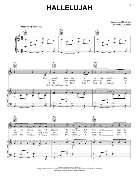 printable sheet music for hallelujah hallelujah sheet music by kate voegele piano vocal