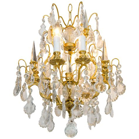 Gilded Bronze Rock Crystal Chandelier With Crystal Spikes Rock Chandeliers