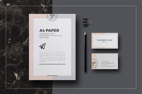 business card a4 template psd a4 paper overhead view mockup free psd on behance