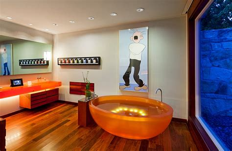 orange bathtub colorful bathtub ideas bathroom decor pictures