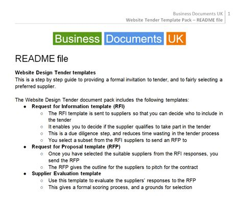 tender specification template website design tender commission template