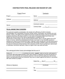 Partial Lien Waiver Template by Sle Lien Waiver Form 8 Exles In Pdf Word