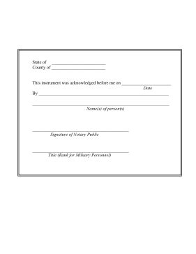 printable notary acknowledgement legal pleading template