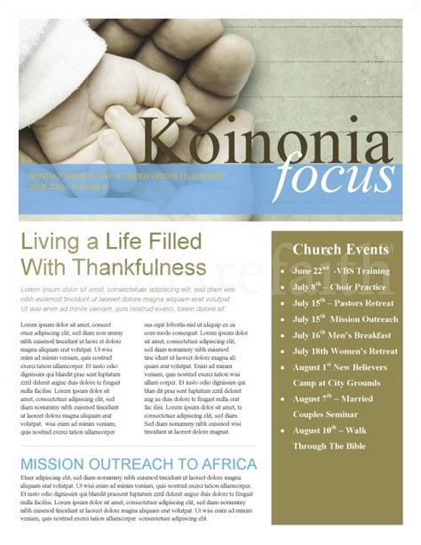 hand in hand church church newsletter template