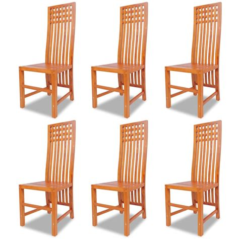 Dining Chairs 6 Vidaxl Dining Chairs 6 Pcs Solid Teak Vidaxl Co Uk