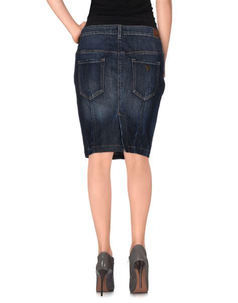 Guess Denim Skirt lyst guess denim skirt in blue
