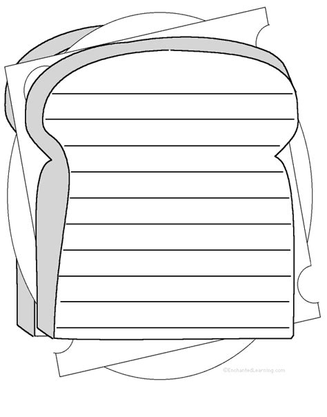 sandwich template for writing sandwich shape poem printable worksheet