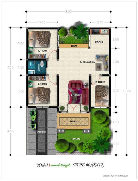 desain rumah 8 x 12 denah rumah minimalis type 60 diatas lahan ukuran 8 m x 12