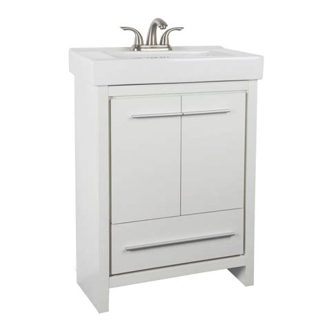 glacier bay romali 24 inch w vanity in white finish with