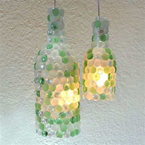 glass bottle craft as a home decor crafts and arts ideas glass pebble wine bottle pendant ls hometalk