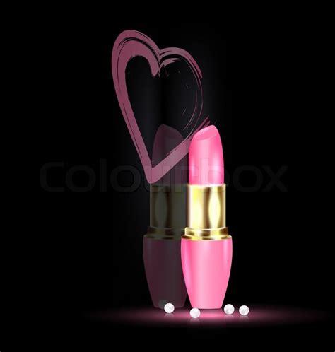 wallpaper pink lipstick dark background and pink lipstick in mirror with heart