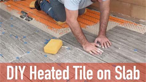 DIY Heated Tile Floor on Slab   YouTube