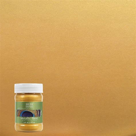 Metallic Gold Interior Paint by Modern Masters 6 Oz Gold Metallic Interior Exterior Paint Me65806 The Home Depot
