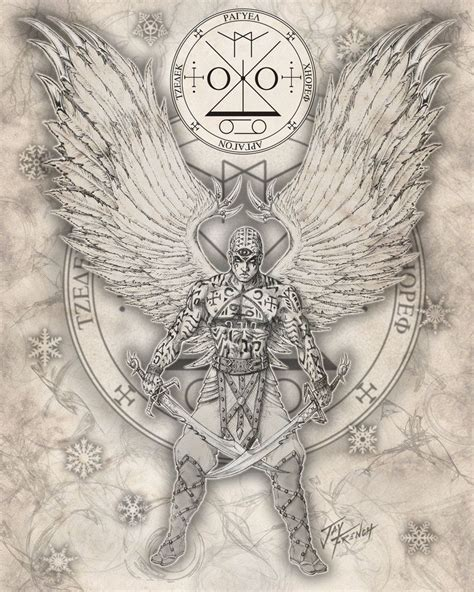 angel uriel tattoo there is no color but i like it as an emblem what