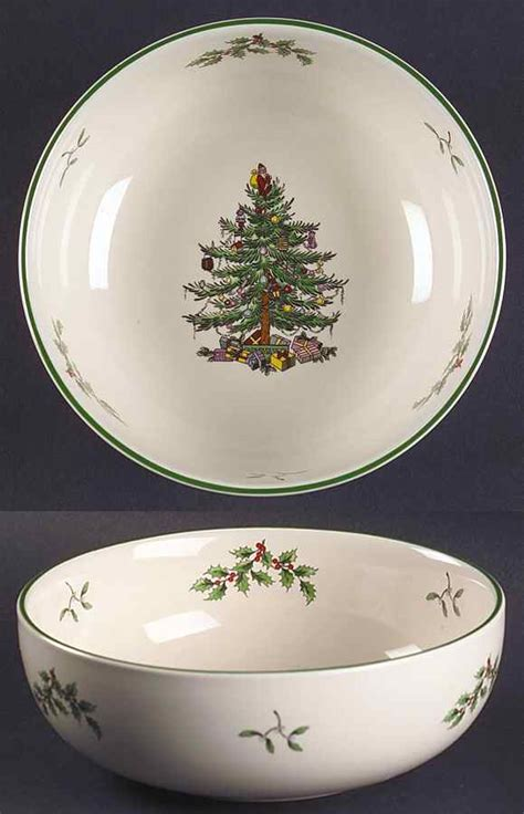 spode christmas tree green trim all purpose cereal bowl