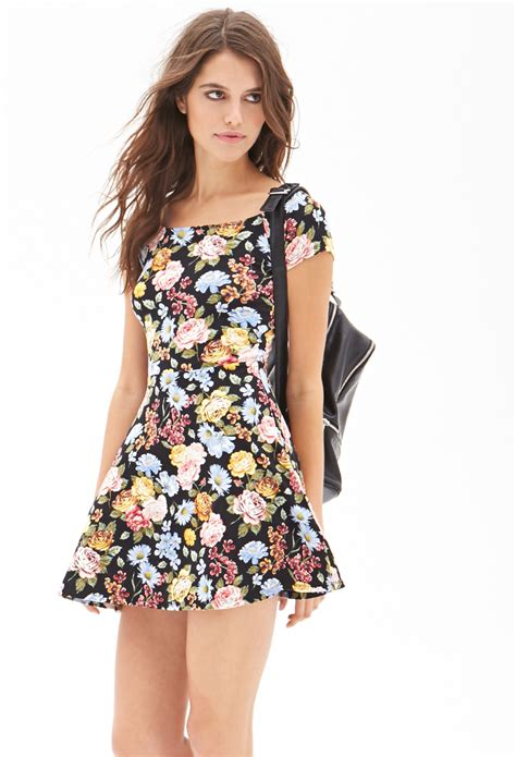 Dress Fashion Skater forever 21 floral print skater dress in multicolor black multi lyst