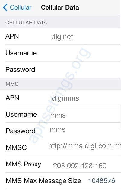digi malaysia apn settings  iphone apn settings